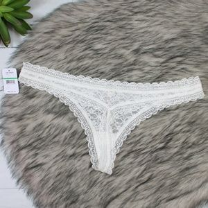 Free People Ivory Lace Thong Underwear NWT